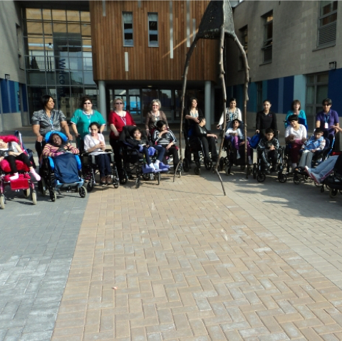 Mayfield school children and staff as new building is opened