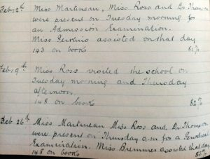 extracts from the log book at Dame Ellen Pinsent school
